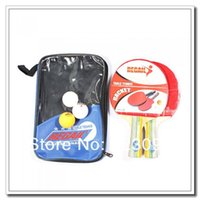 Wholesale High quality Table Tennis Set Racket Ball Racket Pouch Long Handle Shake hand Ping Pong Paddle Colors Choice
