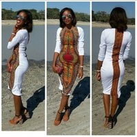 africa print dresses - Hot sale african traditional style white print sexy dress long sleeve back split africa women summer dress