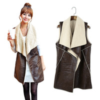 Wholesale New Fashion Women Vest Coat Suede Faux Fur Lapel Sleeveless Fleece Long Waistcoat Jacket Outerwear Coffee G1408