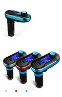 Wholesale 1pcs Double USB bluetooth car MP3 hands free calls the new belt charging with aux interface