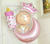 baby fail - 100 days baby shower party decoration fail balloons moon crown bottle pink baby st birthday decoration balloons