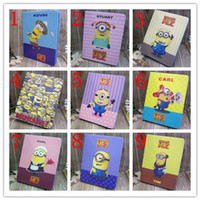 Wholesale OEM D Cartoon Despicable Me Minions M2 case sleep wake PU leather stand holder Case Cover stand For ipad mini ipad air