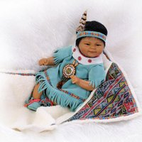 Unisex american doll kit - 17 quot cm Silicone Lifelike Reborn New Baby Boy Alive Realistic Native American Indian reborn baby doll Kits Women Treats Nursery Gift
