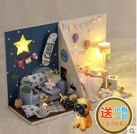 Wholesale Mini DIY lovers house LED light doll house D puzzle diy toy make by yourself the house is not completed
