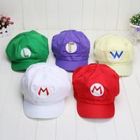 Cheap 5 color Luigi Super Mario Bros cap hats Anime Cosplay Hat elastic flap hip hop caps hats Super Mario Luigi baseball caps