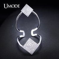 band issues - UMODE Latest Issued Style Womens Fashion Full Finger Ring Two Square Plate with Top Quality Paved Cubic Zircon Gril Ring UR0059B