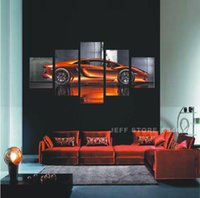 Wholesale Wall Art Picture Gift Unframed Panel Cool Orange Reflective Run Car Large HD Top Rated Canvas Print Painting For Living Room