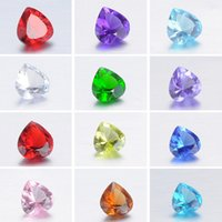 Wholesale crystal floating locket charms birthstones Mix color mm heart shape glass
