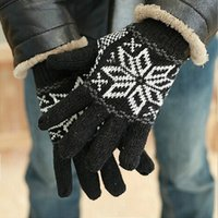 Wholesale Men Full Fingers Gloves With Floral Pattern Thick Double Layer Knitted Warm Gloves For Winter Wear