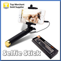 Wholesale Brand new Audio cable Integrated Monopod wired Selfie Stick Extendable Handheld Built in Shutter and Clip for IOS iPhone Android Smart phone