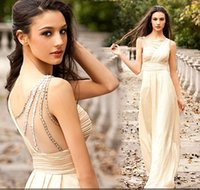 Wholesale Hot Selling High Quality Champagne Chiffon Flowing Prom Dresses Crew Sheer Straps Sleeveless Beaded Sexy Sheath Formal Pageant Gowns sdd