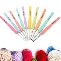 Wholesale Aluminum Crochet Hooks Knitting Needles Set Multicolor Soft Plastic Handle Weave Craft10 Sizes mm mm