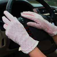 Wholesale Summer New Women s Lace cotton UV Sunscreen Glove Drive Slip a thin gloves
