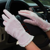 Wholesale Summer New Women s Lace cotton UV Sunscreen Glove Drive Slip a thin gloves