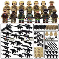 Wholesale 14pcs SWAT Team police officer tactical unit Minifigures Military Figures with weapon DIY Assemble Children Gift CollectionToys