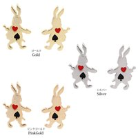 alice series - 12pcs fashion new Japanese cute naughty bunny Series of Poker Alice earrings