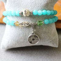 Wholesale 2015 mm Blue Jade Bracelet Retro Alloy Copper Coins Pendant Female Jewelry Bracelet Multilayer Chain Necklace Natural Stone