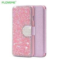 Iphone bling la rosa Baratos-I6 Caja rosada de la carpeta de Bling de la muchacha para el iPhone 6 6S Forma la cubierta cristalina completa de la ranura para tarjeta para el iPhone 6 4.7 / 6S con el bolso de la hebilla del diamante