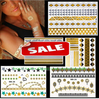 face stickers - Fashion Gold Silver Metalic glitter Temporary Tattoos Jewelry Stickers sexy Body eye face back neck Art sticker
