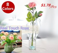 Wholesale 1pcs heads rose Artificial decorative silk Flowers Real Touch rose Home decorations Wedding bouquet flowers