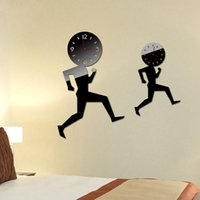 Wholesale New DIY mirror wall clock running man den living room bedroom TV background decorative wall clock two color acrylic material