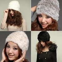 Wholesale Winter Women Rabbit Fur Hat Knit Cap Handmade Warm Fashion Vivi Recommend Hat