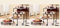 al por mayor placas de hierro frutos-Estante de pastel de hierro forjado, Plato de rack Plato de pastel de rack en la cocina Multilayer marco de tazón de fruta