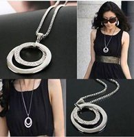 Wholesale retail Fashion Women Jewlery Long Pendant Necklace Chain Crystal Rhinestone Silver