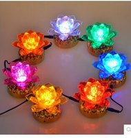 Wholesale 7 colorful lotus lamp GongDeng ever burning lamps LED headlight become attached to Buddha Buddha light crystal light battery buddhi