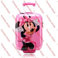 Wholesale 2015 Children Backpack Pull Rod Bags Travel Thermal Bag Kid Cartoon ABS Child School Bags with Wheels