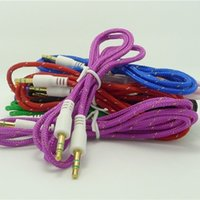 Wholesale 1M FT mm Braided AUX Audio Cable Extention Cable For Iphone PC MP3 Headphone Speaker
