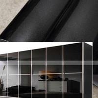 bedroom wall unit - Gloss Black Kitchen Bedroom Furniture Cupboard Unit Cover Vinyl Home Wallpaper Contact Paper x500cm