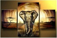 Cheap Free Shipping 3 Panel Canvas Abstract Art Pure hand-made ! Large OIL PAINTING Wall Decor - Elephant no framed painting