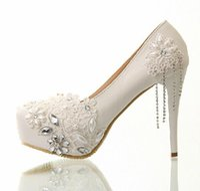 ballet clothes shoes - White Diamond Wedding Shoes Lace Tassels Wedding Dress Shoes Bride Wedding Toast Clothing Shoe High heeled Pumps