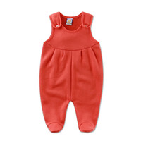 Wholesale 2016 new arrival baby boys one piece romper winter spring fleece girl newborn simple jumpsuit with button hot kid solid clothes infant cloth