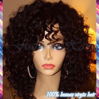 human hair afro wigs - 7A Kinky Curly Lace Front Wigs Brazilian Virgin Human Hair Afro Kinky Curly Glueless Full Lace Wig For Black Women Freeship