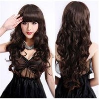 sexy wig - Black Brown Girls sweet Sexy paragraph wig fluffy long hair curly wig free lace wig cap cosplay Synthetic hair
