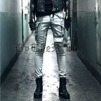 alternative media - Korean men s dark gothic hairstylist alternative theatrical equipment to do the old white jeans singer stage costumes trousers