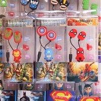 Wholesale Cartoon superman spiderman design In ear wired mm Earphones Headphone Earphone