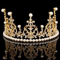 pageant crowns - Luxury Gold Rhinestone Crystal Bridal Tiaras Wedding Crown Headband Hair Accessories Pageant Party Wedding Tiara
