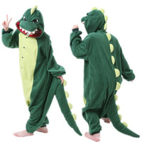 Wholesale Fashion New Designer Cosplay kawaii Anime Green dinosaur Pajamas Adult Unisex jumpsuit Onesie Polyester Polar cute One Piece Sleepwear