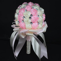 artificial sapphire - Stunning Beaded Crystal Wedding Bouquet Artificial Sapphire Rose Bridesmaid Flower Pearl Bridal Bouquets Custom Made Color