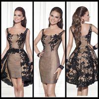 Wholesale Black Cocktail Dresses Sheath Square Neckline Sleeveless Detachable Skirt Lace Appliques Short Prom Homecoming Dress