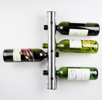 bar wall shelf - 50Pcs Partical Stainless Steel Bar Wine Rack Wine Shelf Wall Mounted Holder Bottles T349