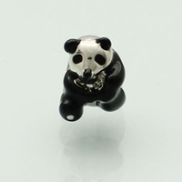 big panda - Personalized jewelry black cute panda animal European bead metal charm ladies bracelet with big hole Pandora Chamilia Compatible