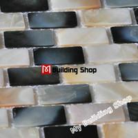 Wholesale Black white mother of pearl shell tiles backsplash MOP028 natural sea shell mosaic mother of pearl bathroom wall tiles