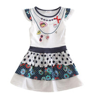 Wholesale New Hot Children s Dresses Puff Sleeve Pure Cotton Summer Girls Dress Flower Dots Necklace Printed Dora Girl Cartoon Dressy White