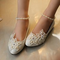 Wholesale 2016 White Five Pointed Star Pearl Rhinestone Beaded Anklet Wedding Shoes Bridesmaid Shoes Handmade Shoes Woman Flats