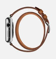 band extra - 1 Original Design Double Tour Extra Long Genuine Leather Band For Apple Watch Band Luxury Wrist Strap Bracelet For iWatch With Adapter