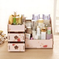Wholesale 2016 new arrival DIY Wooden Storage Box Cosmetics Creative Cute candy color Korean Desktop Organizer SN001